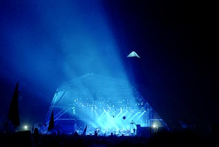 Blue Lights from the Pyramid Stage